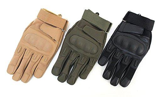 Bigood 1Paire Gants Unisexe Faux Cuir Protection Doigts Complet Sport Militaire Vert