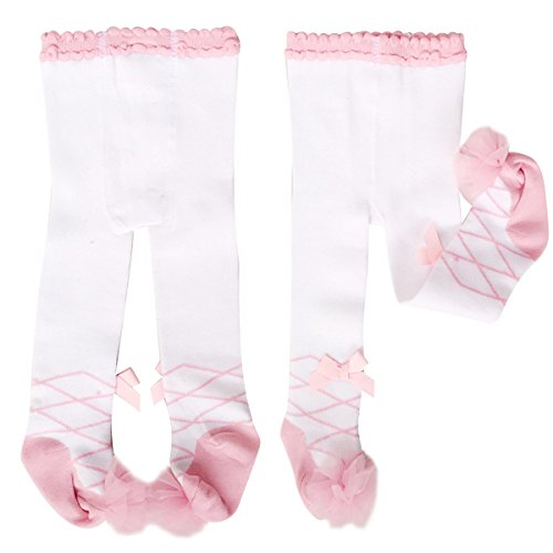 2-Pack Princess Baby Girls Bow Lace Pantyhose Leggings Tights Stockings Socks (Pink+White, 0-12 Months)