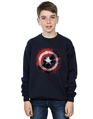 Marvel Jungen Avengers Captain America Art Shield Sweatshirt Navy Blau 9-11 Years (Kinder Captain America-shield)