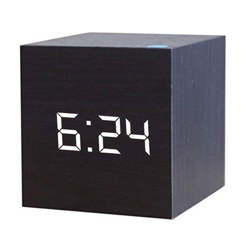 JoyliveCY Reloj Despertador Digital LED de Madera, Muestra la Fecha y la Temperatura del Tiempo, Cubo...