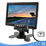 Lychee 7Pulgadas TFT Color LCD Cámara de visión Trasera para Coche Soporte de Monitor Giratorio la Pantalla y 2AV entradas con un Mando a Distancia de Infrarrojos