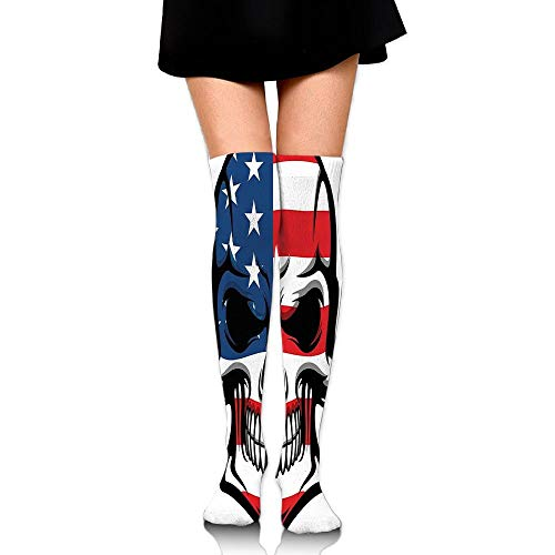Juzijiang Scary Skull With American Flag Dead Native Of The Country States Evil Women's Fashion Over The Knee High Socks (65cm) (Dead Scary Girl Evil)