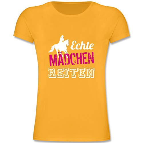Sport Kind - Echte Mädchen reiten - 140 (9/11 Jahre) - Gelb - F131K - Mädchen Kinder T-Shirt
