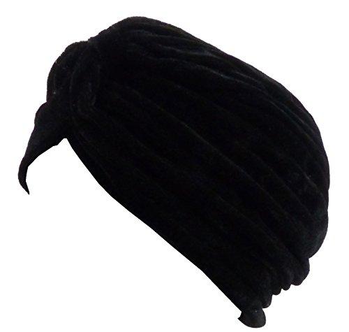 Turban Fasching-Muetze schwarz Karneval-Sultan Cap indisch Scheich-Kostüm Stoff-Mützen -