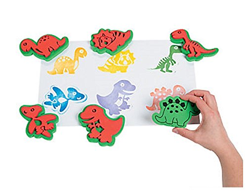 12-dinosaur-foam-paint-stampers-for-kids-arts-crafts-sponge-paint-stamps