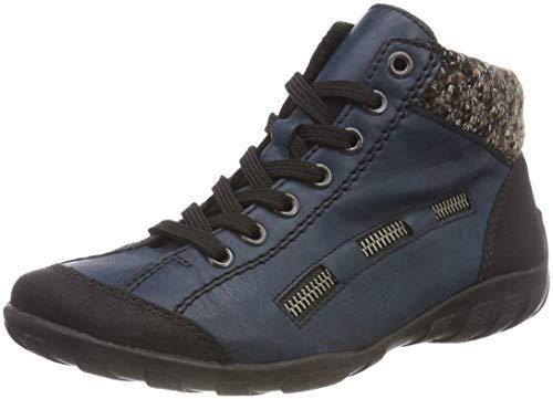 Rieker Damen L6543 Hohe Sneaker, Blau (Schwarz/Navy/Terra 00), 40 EU