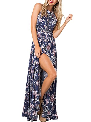 Simplee Apparel Damen Chiffon Maxikleid Elegant Blumen Ärmlos Rückenfrei Split Lang Kleid Abend Kleid Blau Blau