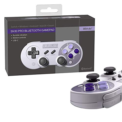 Game Controller Bluetooth for Android PC, 8Bitdo SN30 PRO Wireless Gamepad  USB for Raspberry Pi, Windows, Android, Mac, Steam