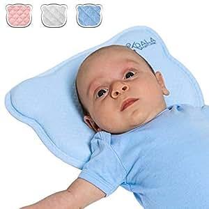 Koala Babycare® Cuscino Neonato Plagiocefalia Sfoderabile (con due Federe) per la Prevenzione e Cura della Testa Piatta in Memory Foam Antisoffoco - Koala Perfect Head Blu