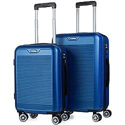 ITACA - Juego Maletas de Viaje Trolley Set 55/67 cm ABS. Rígidas, Resistentes y Ligeras. Mango, Asas, 4 Ruedas. Candado. Pequeña Cabina Low Cost Ryanair y Mediana. T72015, Color Azul