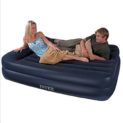 Zjcqc Luftbett doppelt, mit doppeltem Kissen, das das aufblasbare Bett-Innenmittagessen beflockt, dunkelgrau - King-size-betten Mit Schubladen