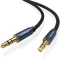 UGREEN Câble Audio Jack 3.5mm Nylon Tressé Cable Stéréo jack Mâle vers Mâle pour Téléphone Voiture Autoradios Haut-parleur Tablette Ordinateur Chaîne Hi-Fi (1M, Bleu)