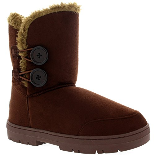 Damen Schuhe Twin Knopf Fell Schnee Regen Stiefel Winter Fur Boots Braun