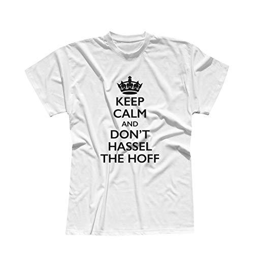 T-Shirt Krone + Keep Calm Don\'t Hassel The Hoff Baywatch 13 Farben Herren XS-5XL 80er Eighties Kult Freedom K.i.t.t. Knight Rider, Farbe: Weiss - Logo schwarz, Größe: XL