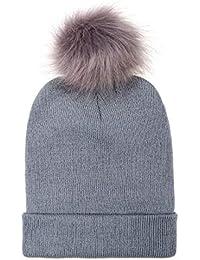 UMIPUBO Gorro Hecho Punto Slouchy cálido Sombrero Lana de Invierno Mujer  Hecho Punto Gorro con Pompón 1b65ce96db2