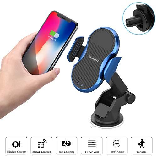 Wireless Auto Caricatore a Infrarossi, 2 in 1 Wireless Caricatore Portatile con Presa d'Aria e Mensola per iPhoneX / 8/8 Plus, Samsung Galaxy S9 con Tre Modo 10/7.5 / 5W ZIGLINT