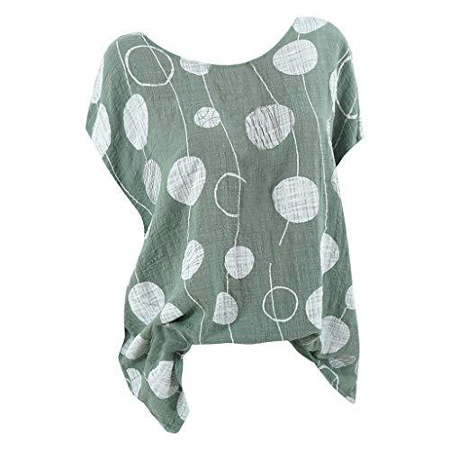 Geilisungren Damen Vintage Punkt Drucken T-Shirt Große Größen Kurzarm Oberteile Frauen Sommer Casual Rundhalsausschnitt Bluse Lose Oversized Tunika Tops Tee