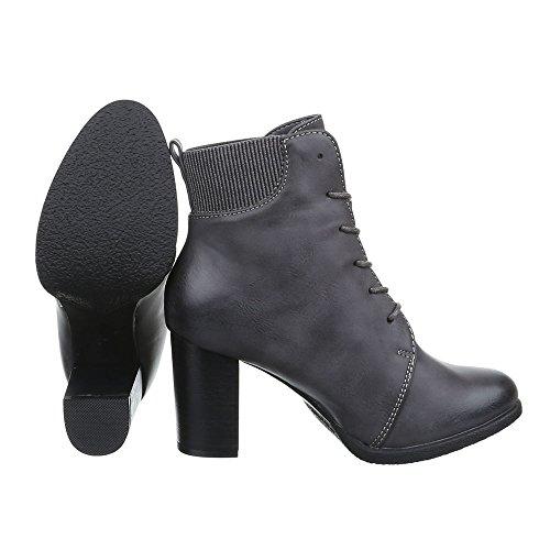Damen Schuhe Schnürer Combat Boots Schnürsenkel Schnürboots Stiefeletten Blockabsatz Grau