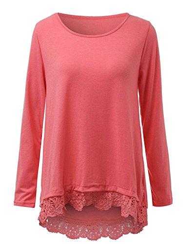 ZANZEA Donna Magliette Manica Lunga Pizzo Nuovo Autunno Maglie Casual Elegante Girocollo T-shirt Top Rosa