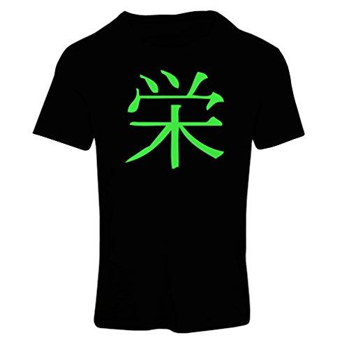 Frauen T-Shirt Wohlstandlogo - Chinesisch - Japanisches Kanji-Symbol (Large Schwarz Grün)