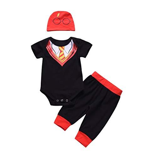 Für Potter Kostüm Kleinkind Harry - Baby-Kleinkind-Jungen-beiläufige Ausstattungs-Klage-Krawatte Romper + Pants + Print Hat 3pcs / set 0-18M (Size : 70)