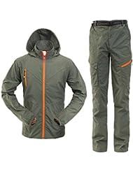 YYH Ropa de alpinismo de secado rápido para hombre (abrigo y pantalón) Ropa de alpinismo . army green . 4xl