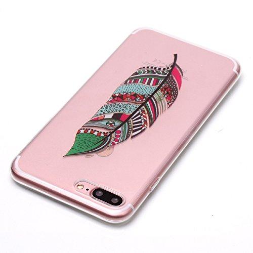 Cover iPhone 7/iPhone 8, GrandEver Morbida Trasparente Ultra Slim Gel Silicone TPU Custodia Protettiva Back Shell Case per iPhone 7/iPhone 8 - Farfalla Piuma