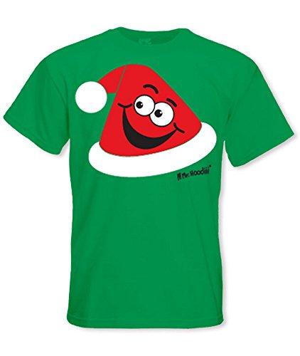 Herren Festliche Weihnachten T-shirt - Santa Hut Smiley - Kelly Green, (Santa Hut Green)