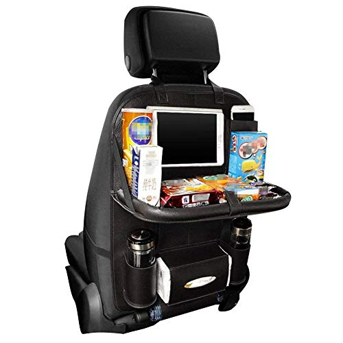 HCMAX 1 Pack Luxus Auto-Rückenlehnenschutz Autositz-Zurück-Organisator Faltbar Esstisch Halter Tablett Multifunktional Schutz Aufbewahrungstasche Trittmatte Reisezubehör PU-Leder (Kinder-spielzeug-organizer-ablagen)