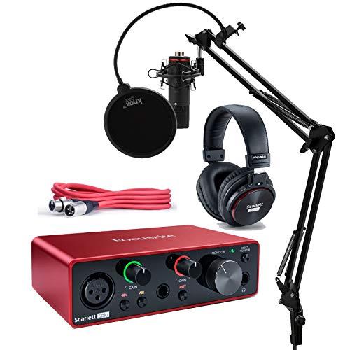 Focusrite Scarlett Solo Studio 3. Generation USB Audio Interface und Recording Bundle mit Mikrofon, Kopfhörer, XLR-Kabel, Knox Studio Ständer, Shock Mount und Popfilter (7 Stück) -