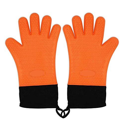 Zhiyi [1 Paar] Barbecue Handschuhe, hitzeresistente Silikone Grillhandschuhe und Ofenhandschuhe für Ihre Indoor & Outdoor Bedürfnisse Kochen - Orange