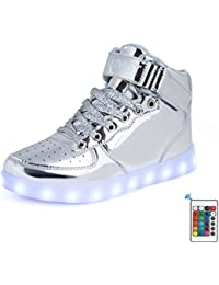 AFFINEST Unisex niños Cargador USB luces LED High Top luminoso Cordones de deporte casual Sneaker Zapatos