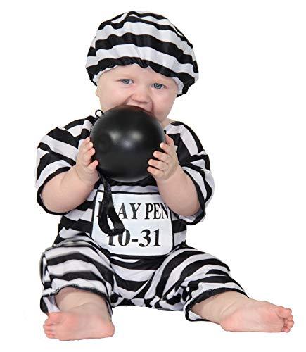 Für Sträfling Kleinkind Kostüm - Foxxeo 40237 I Babykostüm Gefangener Sträfling Kostüm Jumpsuit Gr. 68-86, Größe:80/86