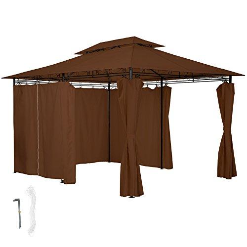 TecTake Tonnelle de Luxe Tente Gazebo pavillon de Jardin d'événement avec Parties Latérales 3x4 m - diverses Couleurs au Choix - (Marron | no. 402461)