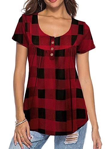 Karierte Damen-shorts (KISSMODA Kurzarmhemden für Frauen Fit Flare Plaid Karierte Oberteile Rot XLarge)