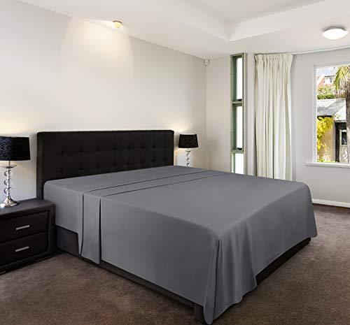 Utopia Bedding Lenzuolo - Microfibra Spazzolata - (Grigio, 225 x 255 cm) - Dimensione Non per IT