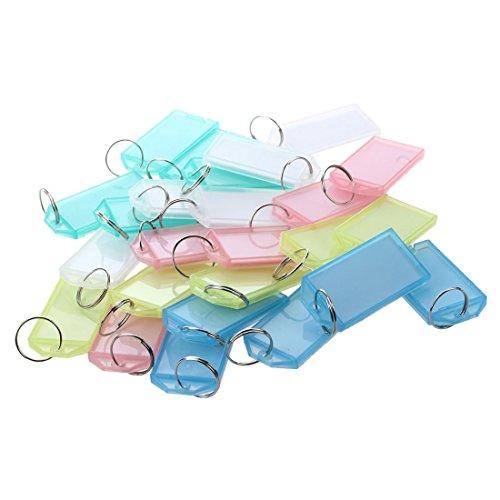 SODIAL(R) 25 Pcs Multicolore Plastique Cle ID etiquettes avec anneau fendu porte-cles