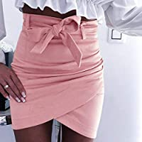 SKYROPNG Minifalda Mujer,Cintura Alta Atadura Irregular Tramo Faldas Rosa,Soft Empalme Fácil De Limpiar Transpirable Mini Falda,para Casual Home Athletic Streetwear Silvestres,M