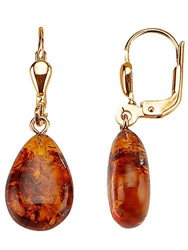 KLINGEL Ohrringe mit Bernsteinen aus Gelb-Gold, lange Ohrhänger mit zwei Edelsteinen, Goldschmuck für Damen, zeitlos & klassisch