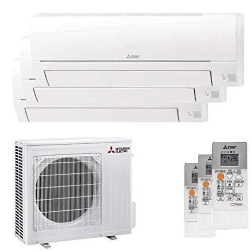 MITSUBISHI, Serie MSZ-HR - Climatizzatore 9000+9000+12000 Btu, Trial Split Inverter, Classe A++/A+