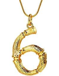 FOCALOOK Collar de Número Colgante de 0-9 Diseño Especial con Cadena Serpiente Chapado en