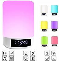 OCEVEN Weiß Nachttischlampe mit Bluetooth Lautsprecher - LED Nachtbeleuchtung mit Uhr und Dimmable Touch Sensor... preisvergleich bei billige-tabletten.eu