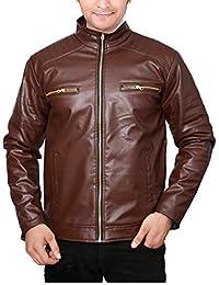 Vbirds Fine Quality Leather Jacket for Men (Dark Brown)