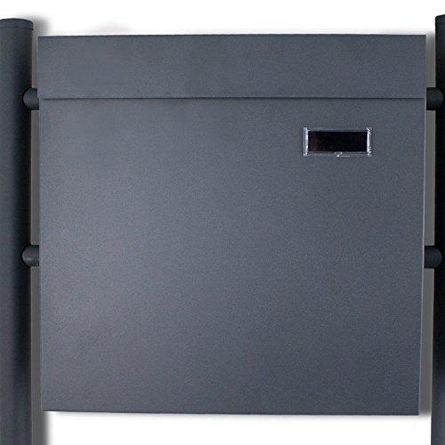 BITUXX® Doppelstandbriefkasten Briefkasten Postkasten Mailbox Letterbox Briefkastenanlage mit integrierten Zeitungsfach Dunkelgrau Anthrazit - 4
