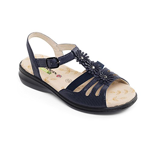 Padders Grandi donne di pelle sandalo 'Lizzy' | Profondo e di grandi dimensioni | Extra Large EEE Larghezza | calzascarpe libero blu Reptile