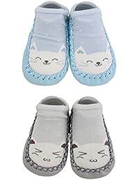 2 Pairs of Baby Boys Girls Indoor Slippers Anti-slip Shoes Socks Bunny Cat Bear