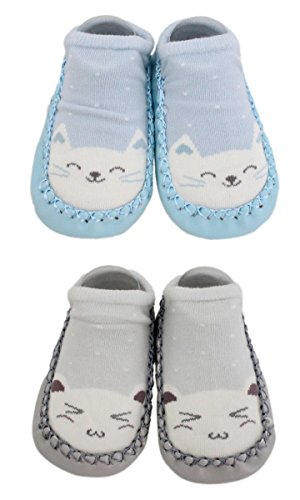 2 Pairs of Baby Boys Girls Indoor Slippers Anti-slip Shoes Socks Bunny Cat Bear
