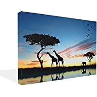 LARGE Canvas Print Giraffe's IN THE SUNSET AFRICA LANDSCAPE CANVAS PICTURE mounted and ready to hang 30 x 20 inches preiswert