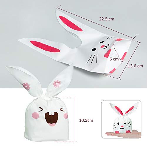ARTMOVA 100 Pezzi Sacchetti Compleanno,Sacchetto per Caramella Confetti Borsa di Regalo Sacchetto Coniglietto di Forma del Coniglio Sacchetti di Biscotto - 5