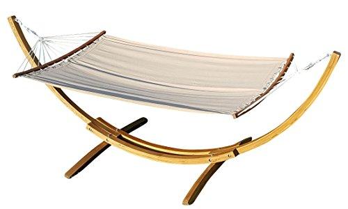 Sas 320cm xl supporto per amaca in legno larice con amaca di as-s, farbe:mit gebogener stabhängematte